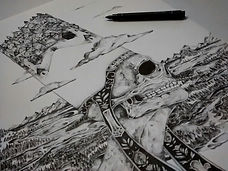 Dotwork, ink, coruña, ilustracion, doom metal