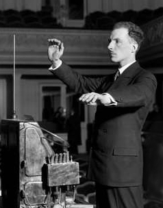 Leon Theremin demonstrating the theremin, December 1927