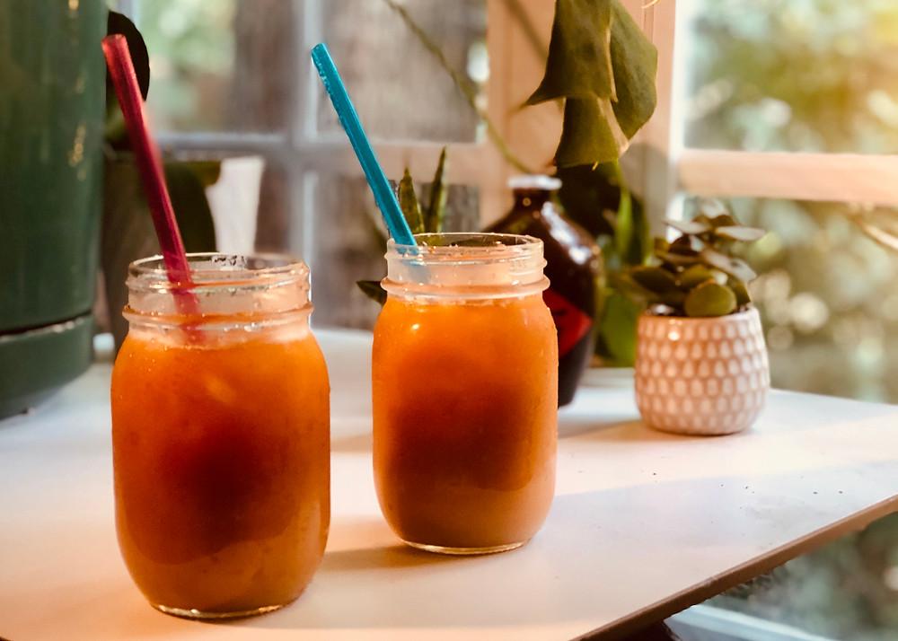 Home-brewed Thai Tea served in mason jars