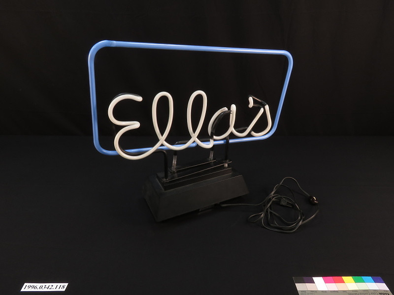 """Neon Sign from the """"pub"""" in her house"""