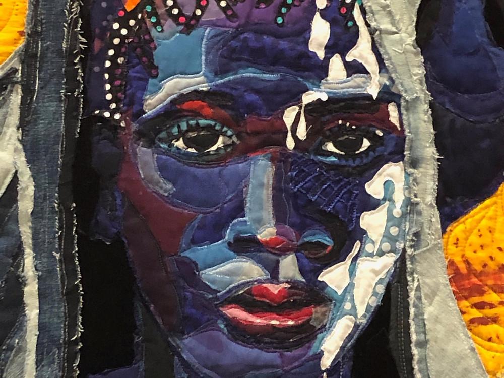 Close up of 'Survivor' (2018) by Bisa Butler, Textile