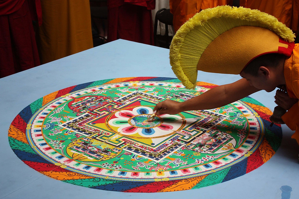 """Cutting"" the mandala of Green Tara at the ""Days of Tibet in Moscow"" event, June 24, 2011"
