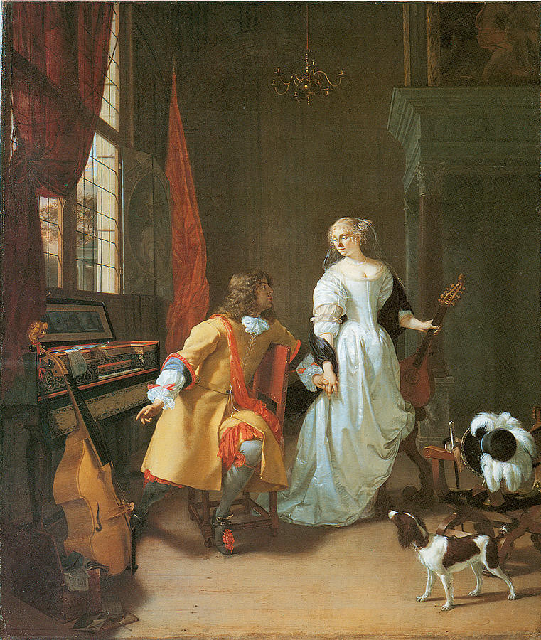 Elegant couple with musical instruments in an interior by Jan Verkolje c. 1674
