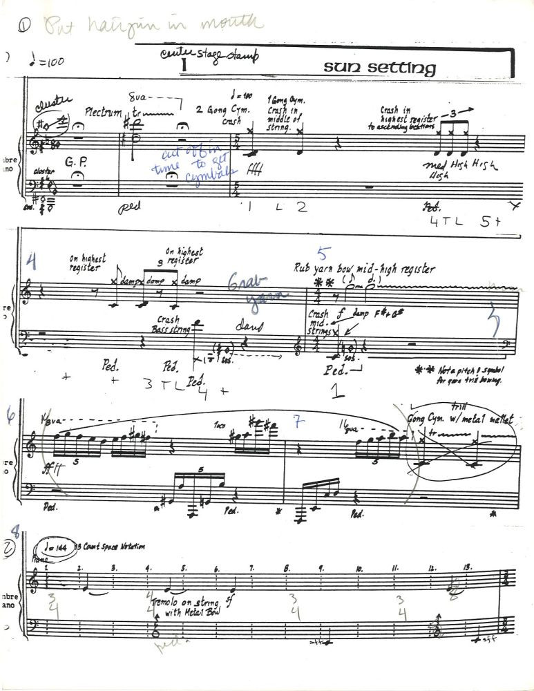 Lucia Dlugoszewski. Black Lake, timbre piano with composer's annotations, undated. Box 145, folder 2, Erick Hawkins and Lucia Dlugoszewski Papers, Music Division.