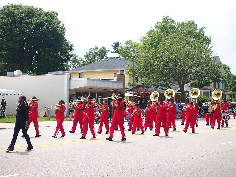 Marching Band in the Swedish Days Parade in Geneva, IL 23 June, 2019