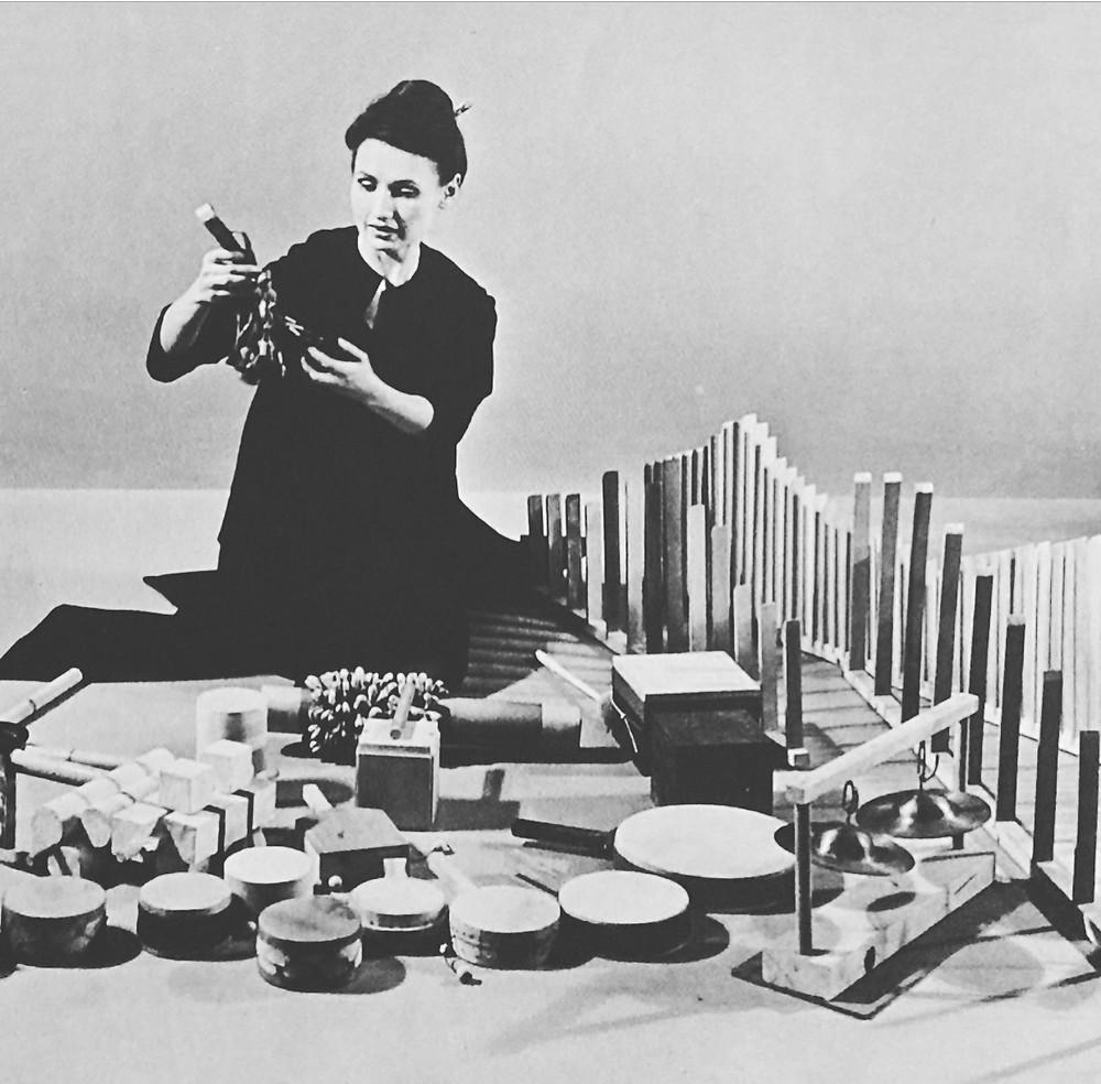 Dlugoszewski with her instruments. LoC