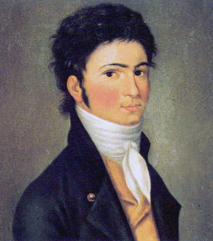 Portrait of Beethoven as a young man, c. 1800, by Carl Traugott Riedel (1769–1832)