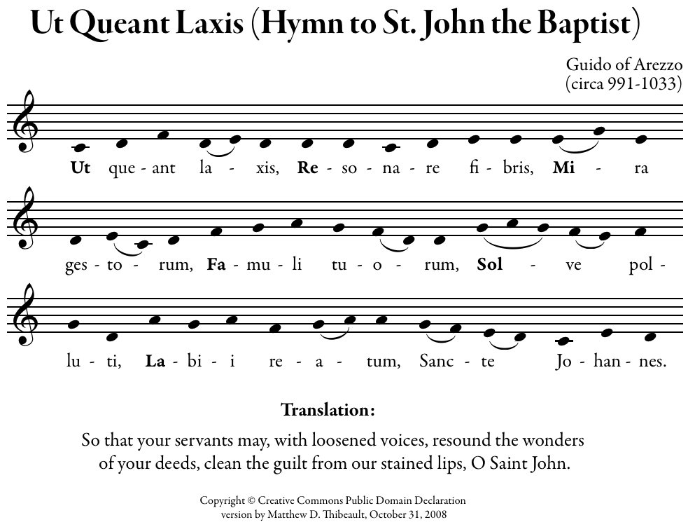 Ut Queant Laxis in modern notation