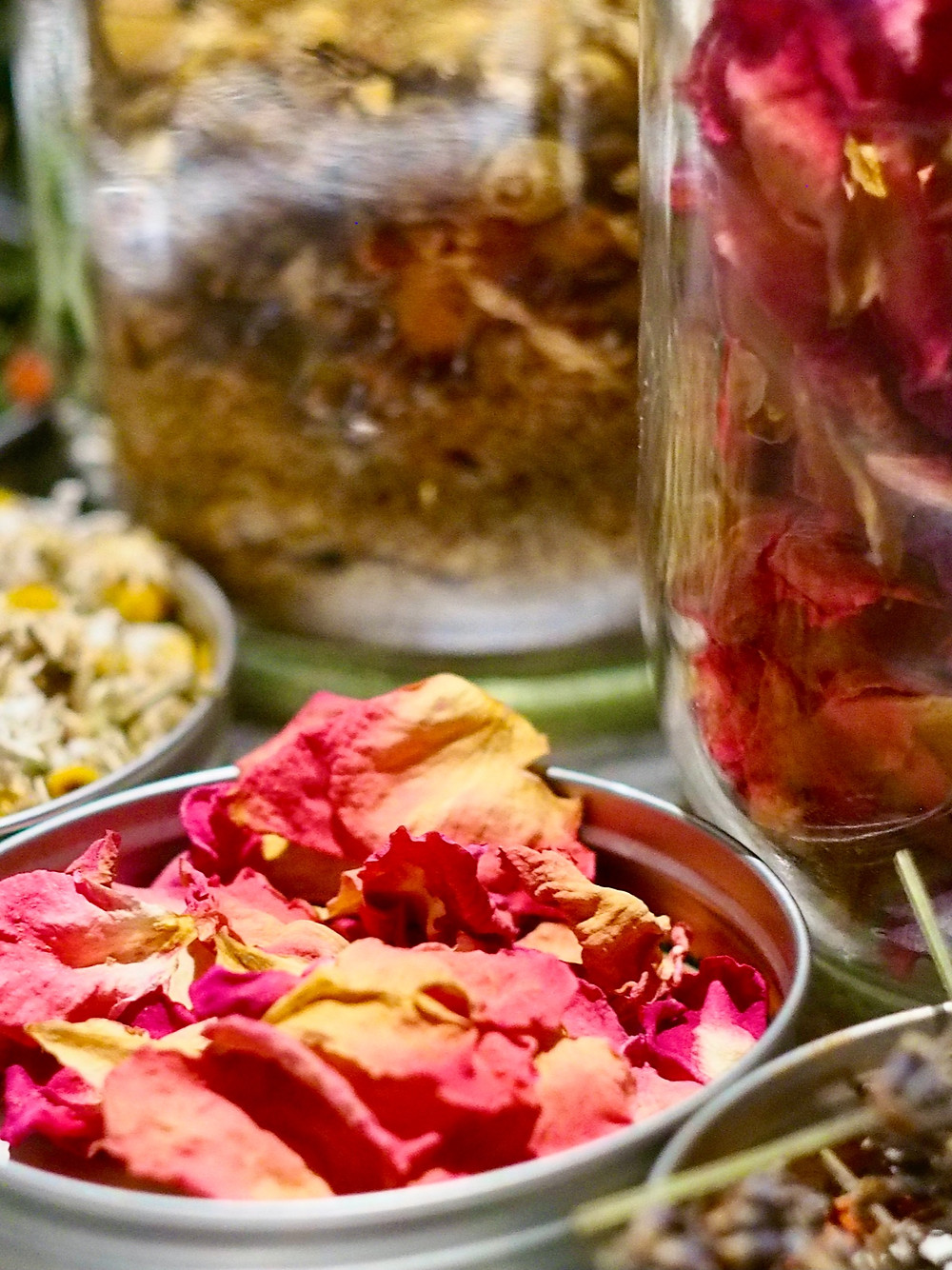 Homegrown and Dried Rose Petals