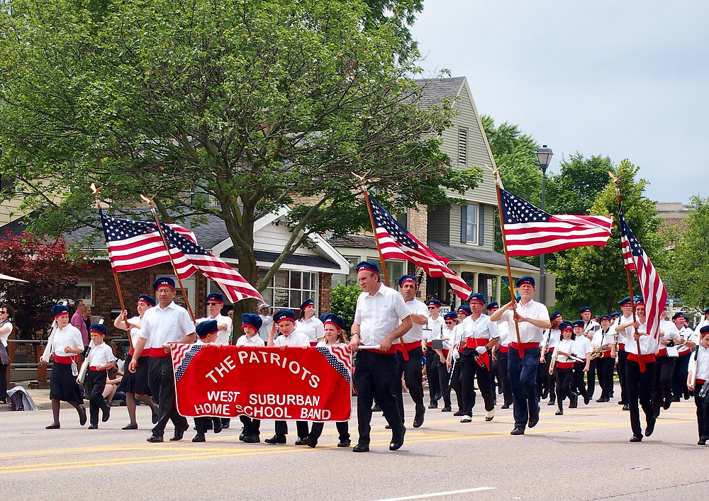 The Patriots West Suburban Home School Band in the Swedish Days Parade in Geneva, IL 23 June, 2019