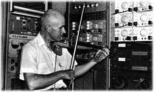 Max Mathews playing one of the electronic violins he built, in his analog electronics lab at Bell Telephone Labs (c.1970)