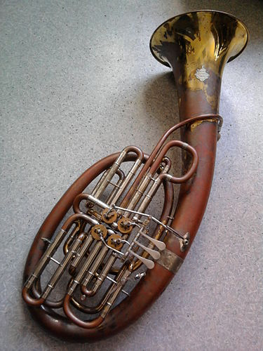 A model 110 double Wagner tuba in F/Bb, built by Gebr. Alexander Mainz.