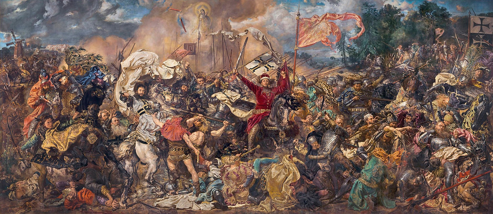 Battle of Grunwald. Jan Matejko based his depiction of the Battle of Grunwald on the account of Jan Długosz. Matejko has shown the final stage of the battle - retreat of Teutonic Knights and the death of Grand Master Ulrich von Jungingen.  Provided by National Museum of Warsaw. PD
