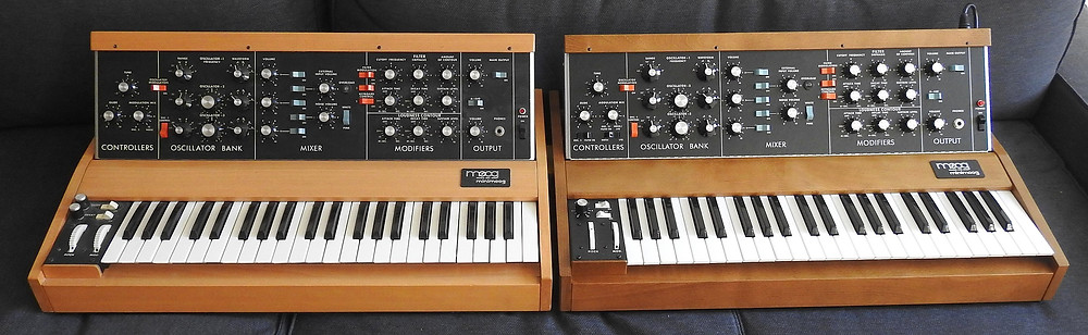 Two Minimoogs: from 1979 (left) and 2017
