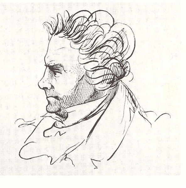 Beethoven caricature by J.P Lyser (1825)