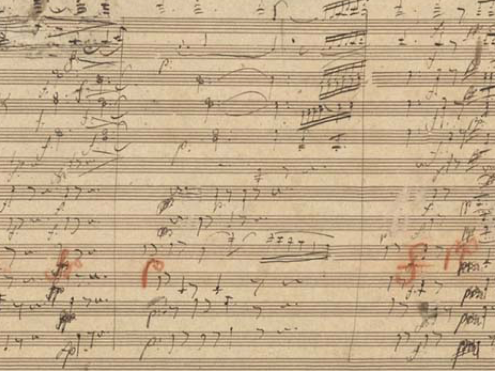 A Page from Beethoven's Manuscript for the Ninth