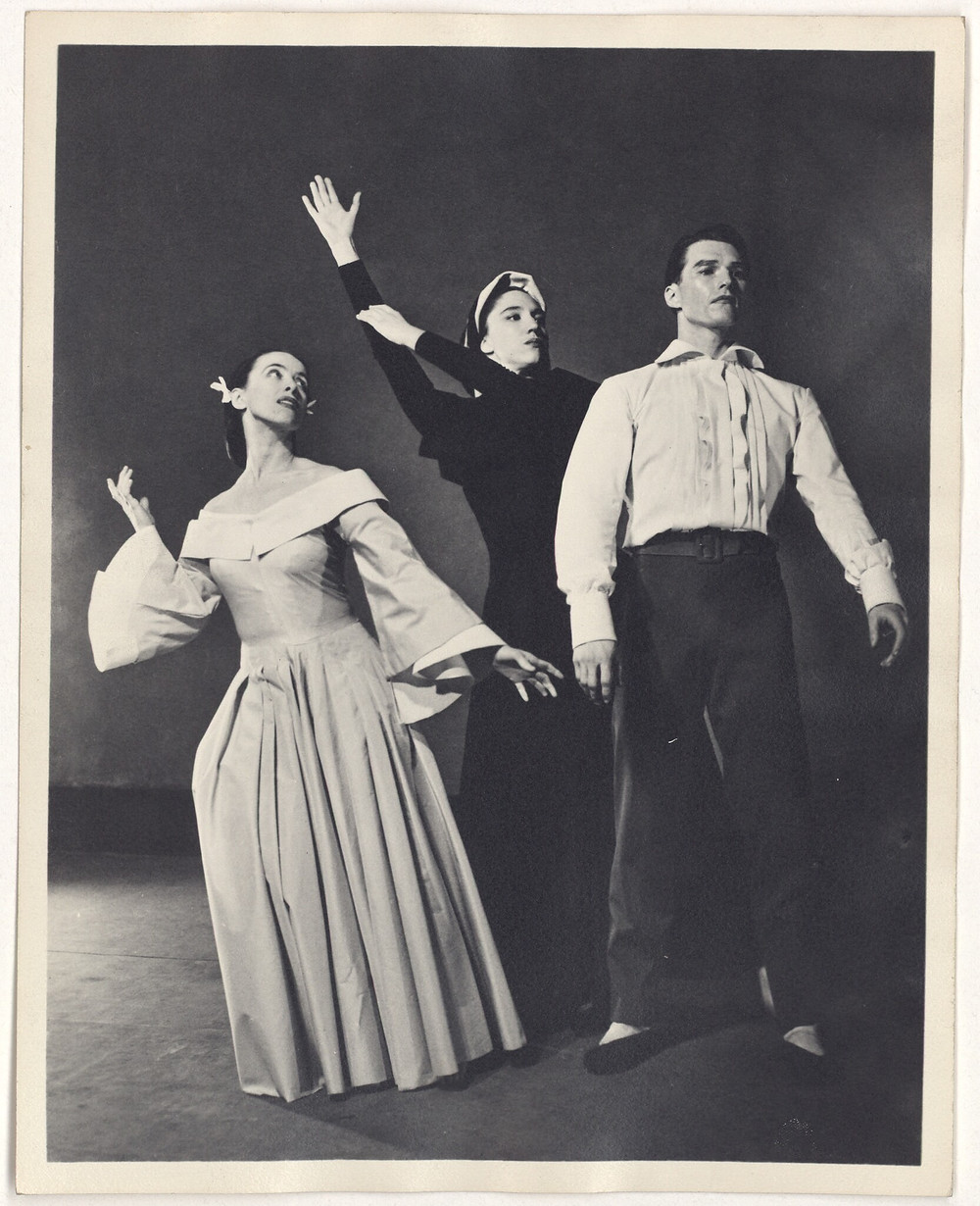 Barbara Morgan, photographer. Martha Graham, May O'Donnell (?), and Erick Hawkins in Letter to the World, circa 1940. Box 134, folder 4, Erick Hawkins and Lucia Dlugoszewski Papers, Music Division.