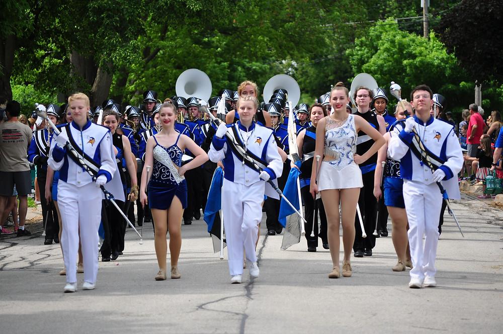 The Geneva High School Band in the 2019 Memorial Day Parade in Geneva, IL