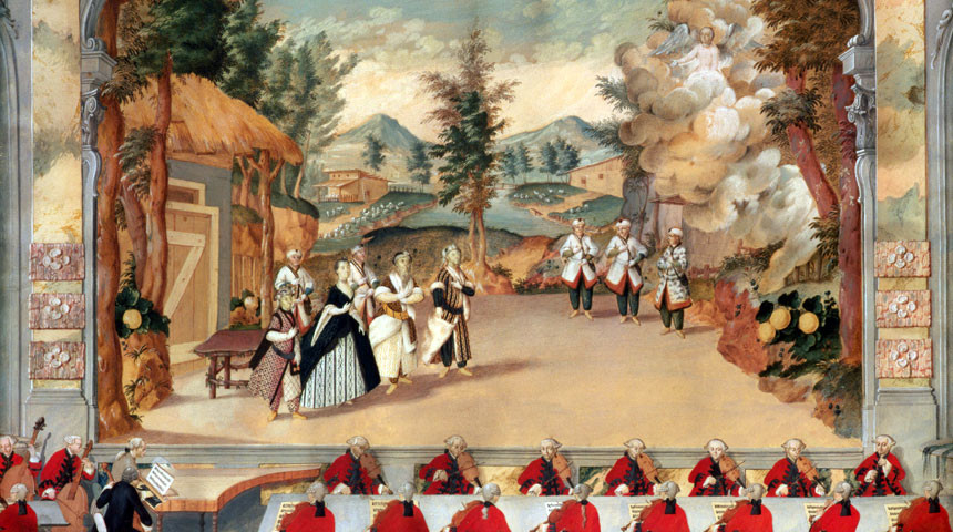 Haydn directing a performance of his opera L'incontro improvviso in the Esterházy theatre in 1775. The Bridgeman Art Library