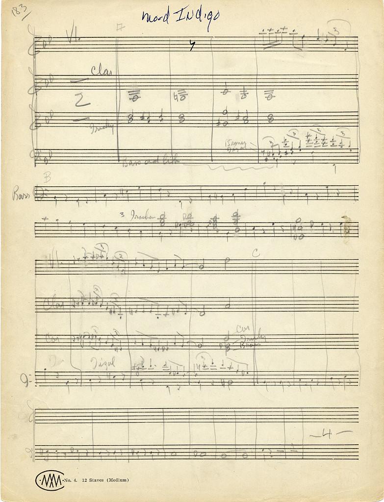 "Handwritten Score ""Mood Indigo"" 1930, Library of Congress"