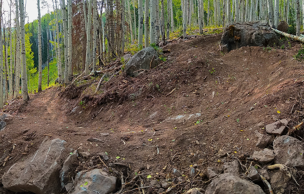 mountain bike switchbacks with rock drop and gap jump