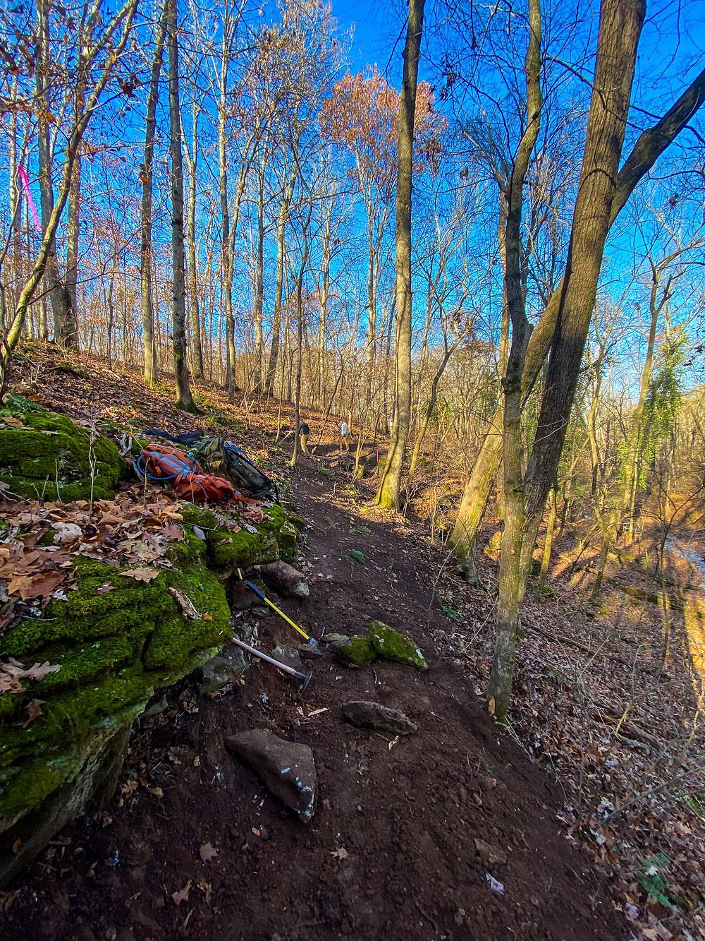 hand-cut hollow mountain bike trail bentonville arkansas