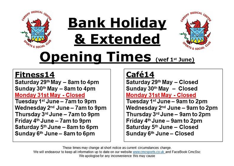 BANK HOLIDAY OPENING TIMES POSTER - May&