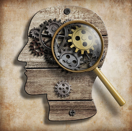 Brain gears and cogs. Mental illness, ps