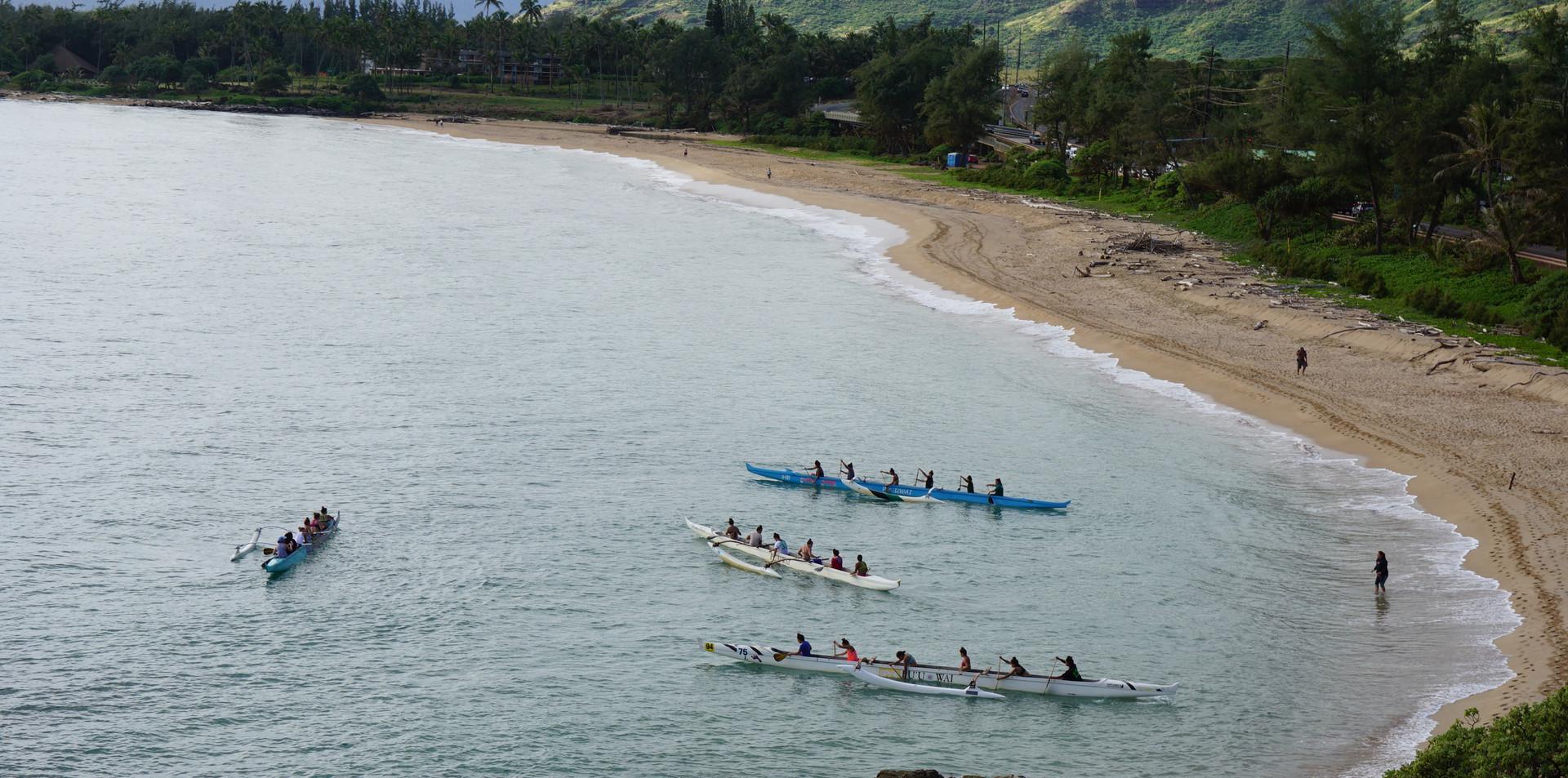 Outrigger Canoe Practice in Wailua Bay