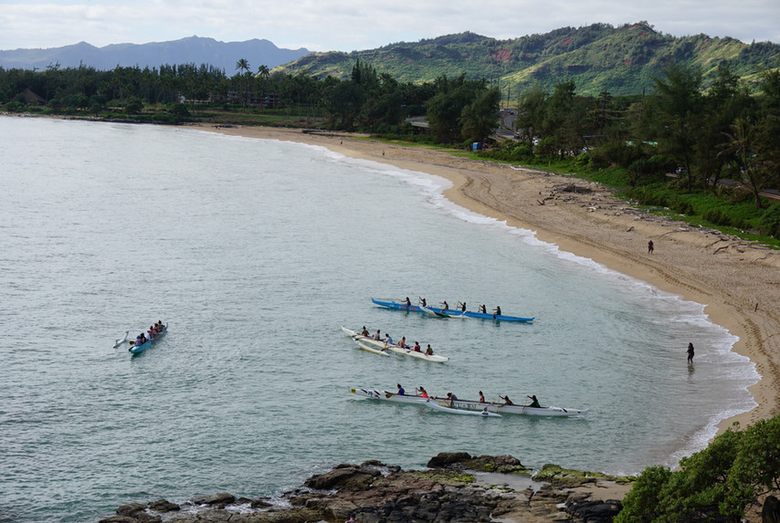 Outrigger Canoe Practice in Wailua Bay