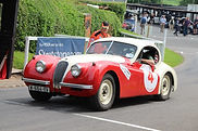 XK120 being flagged off at Shelsley Walsh