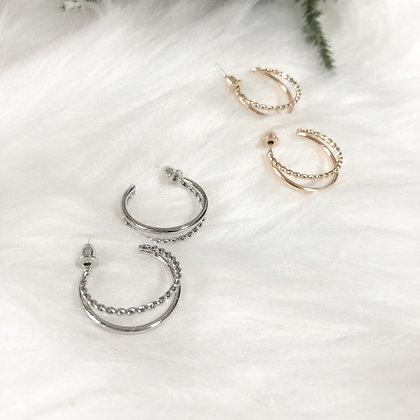 Hera Double Hoop Earrings  (Silver/ Gold)