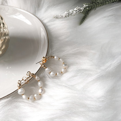 Ophelia Vintage Chain Baroque Pearl Chain Earrings