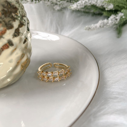 Emberie Double Band Adjustable Crystal Paved Ring