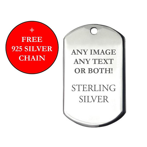 Personalised 925  Silver Large Dog-Tag Pendant