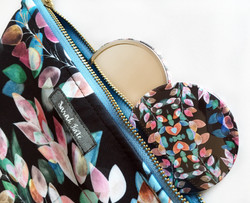 Midnight Leaf make up bag with mirror