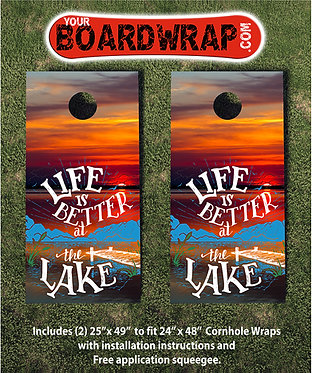 Life Is Better At The Lake   Cornhole Wraps   www.yourboardwrap.com
