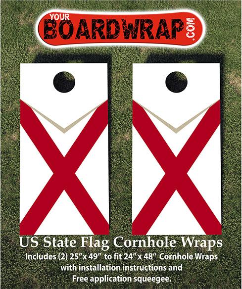 Alabama Flag Cornhole Wraps