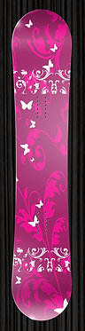 Pink Butterfly Floral Snowboard
