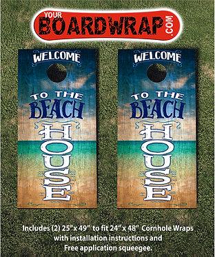 Welcome To The Beach House | Cornhole Wraps | Fun Lawn Games
