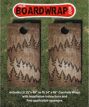 Wood Trees Cornhole Board Wrap
