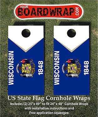 Wisconsin Flag Cornhole Wrap