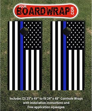 Blue Line Cornhole Wraps | Lawn Games | YourBoardWrap.com