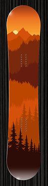 Orange Mountains Trees Snowboard