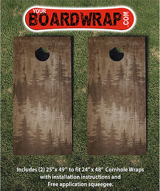 Wood Shadow Trees Cornhole Wrap | www.YourBoardWrap.com