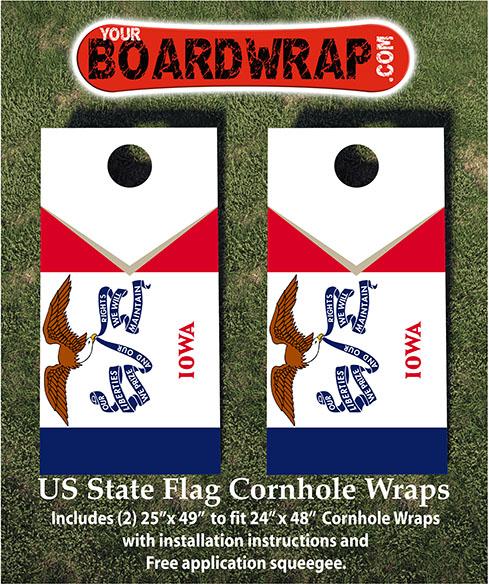 Iowa State Flag Cornhole Wraps