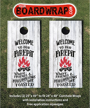 Welcome To Our Fire Pit | Corn hole skins