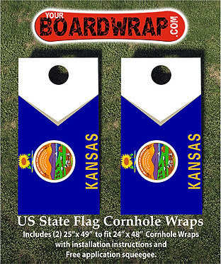 Kansas Flag Cornhole Wrap