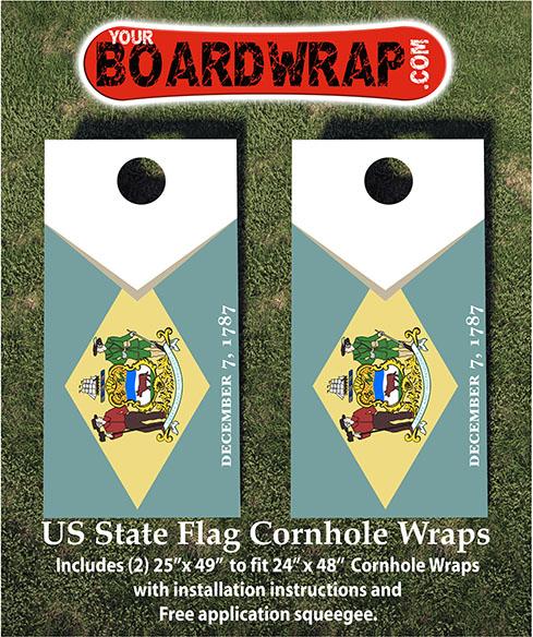 Delaware Flag Cornhole Wraps