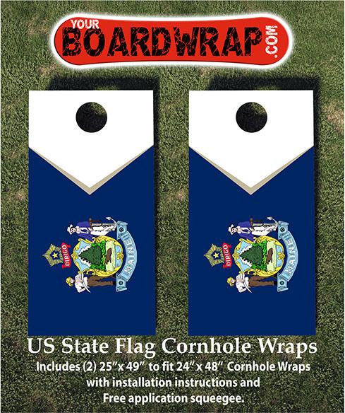 Maine State Flag Cornhole Wrap